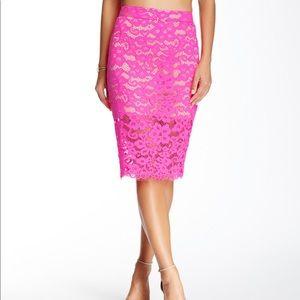 Trina Turk hot pink lace pencil skirt